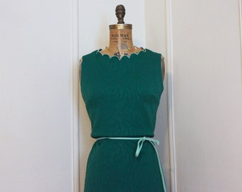 Vintage 1960s Forest Green Pixie Dress - shift dress, mod, twiggy, emerald, belted - size small to medium