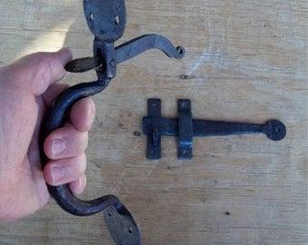 Wrought Iron Thumb Latch Handle Assembly Door Hardware Hand Made Blacksmith