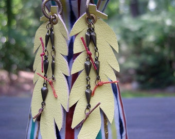 bright yellow leather quill feathers, long leather feathers trimmed in teardrop oxidized brass chain