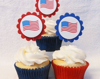 Fourth of July cupcake toppers, flags, set of 12