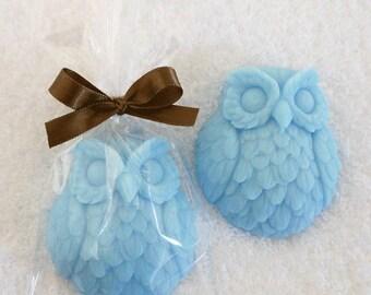 Owl Soap - Bridal Shower Favors - Baby Shower Favors - Party Favors - Wedding Favors - Unscented Soap - Soap Favors - Blue