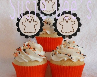 Halloween Cupcake Toppers with ghost, set of 12