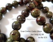 16 inch Dragons Blood Stone Bead Semi Precious 4mm Round - 95-98 pc - 6176