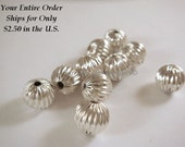 10 Silver Plated Corrugated Beads Plated Brass Round Spacers 8mm - 10 pc - 6299-8