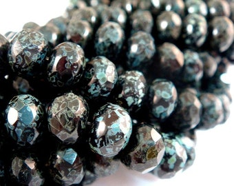 10 Jet Picasso Czech Glass Fire Polished Opaque Faceted Black Abacus Rondelle Beads 8x6mm - 10 pc - G6041-BKB10