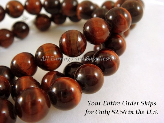 Red Tigereye Stone Beads 8mm A Grade - 16 inch, 48-50 pc - 5566-S