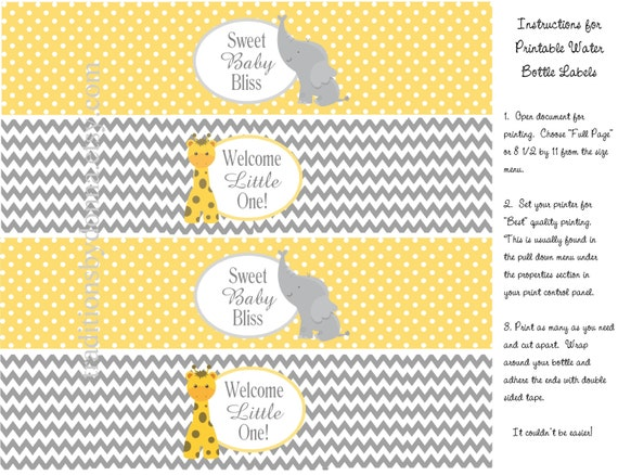 Baby Shower Water Bottle Labels Yellow And Gray Chevron