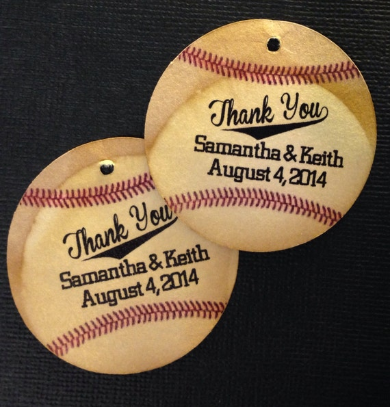 Baseball 160 Circle shape Personalize Favor Tags Wedding Favor Tag