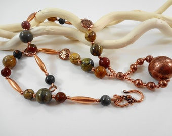 19 inch Red Creek Jasper and Copper Beaded Necklace