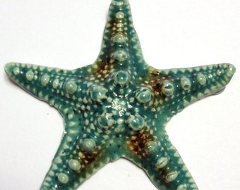 Starfish Focal Charm Pendant - Ceramic Clay Glass Artist Handmade Beads