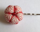Ume (plum blossom) Bobby Pin - Kimono Fabric, Asanoha, RedHair Accessory, Japanese Hair Pin, Kawaii, Handmade, Bobby Pin, Hair Pin