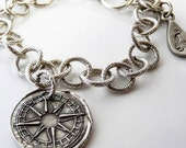 Personalized Custom Latitude Longitude Wax Seal Compass Charm Bracelet
