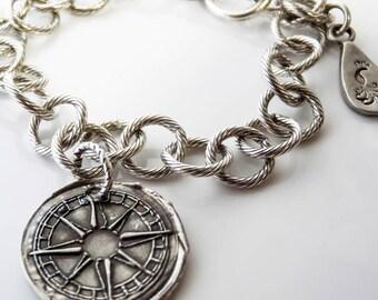 Personalized Custom Latitude Longitude Wax Seal Compass Charm Bracelet