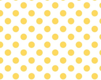 Riley Blake Medium Dot Yellow Fabric, 1 yard