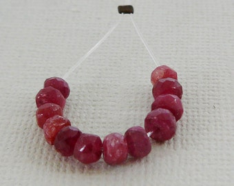Ruby Gemstone Beads, Faceted Rondel 4mm Spacer, Precious, Red Mini strand 12 Beads