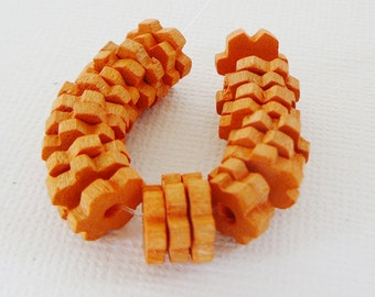 Vintage .. 10mm Wood Beads, Czech Flower Spacer, Orange cantaloupe