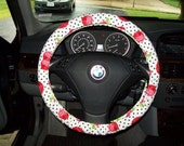 SALE Red Roses on White with Polka Dots Steering Wheel Cover
