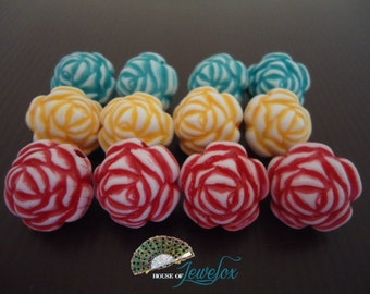 Big Chunky Flower Beads, RED/YELLOW/BLUE, 20mm - 12x