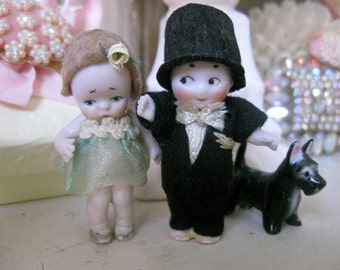 Tiny Bisque Antique German Boy Doll with Top Hat for Wedding Cake Topper Groom