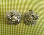 1960's Sarah Coventry Silver Tone and Pearl Clip Earrings