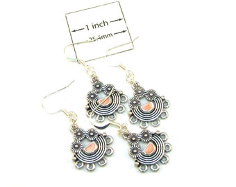 Antiqued Silver Metal Ancient Style Chandelier 40mm x 20mm Earrings, Just Add Dangles or charms, Sold per 2 Pairs, 1019-29