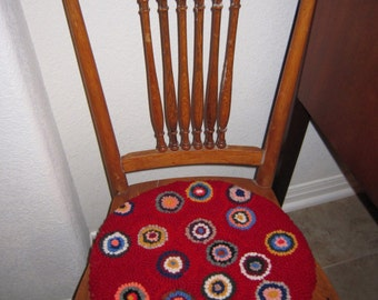 CHAIR PAD Primitive Hooked Rug Chair Pads Your choice of colors made with Recycled Wool from Quilts by Elena