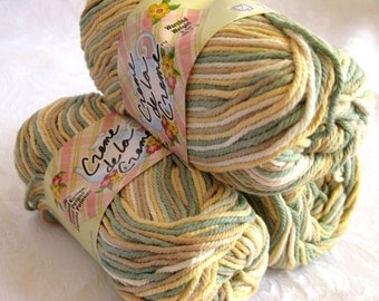 Creme de la creme Cotton Yarn, SONORAN DESERT print,  shades of green cream tan gold