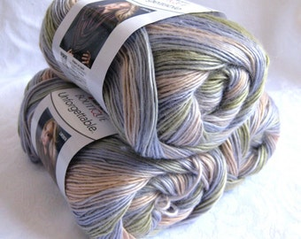 Red Heart Unforgettable yarn in SPRINGTIME, soft shades of peach, violet and olive, worsted weight roving yarn,  Red Heart Boutique