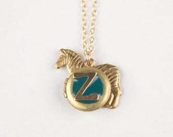 Z Necklace - Initial Z Jewelry - Letter Z Charm - Monogram Necklace - Zebra Necklace - Zebra Locket - Personalized Necklace - Alphabet