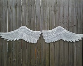 Wooden Carved Distressed Angel Wings in Elizabeth Large 6ft 6inches Wide