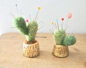 Miniature cactus pin cushion clay pot wool felt display cactus