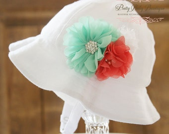 Baby Sun Hat - Easter Bonnet - Baby Girl Bucket Hat - (Removeable) Mint Aqua Coral and White Flower Clip With  Sun Hat- Fits (You Pick Size)
