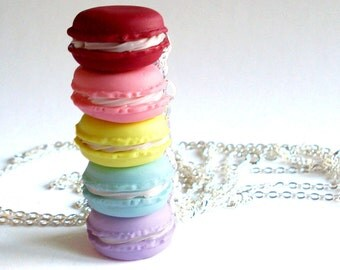 French Macaron Necklace, Macaroon Necklace - Choose Your Color - Miniature Food Jewelry