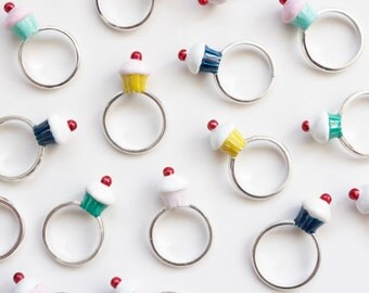Cupcake Ring, Sterling Silver and Enamel, Precious Jewellery, Handmade in England.