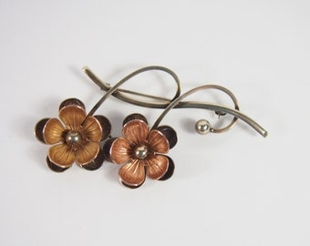 Forstner 10K Rose and Yellow Gold Flower Brooch Vintage 40s 50s Jewelry