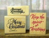 Reserved for Angela Christmas  un Mounted Rubber Stamps, 3 Sayings, Gently Used