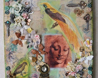 Mixed Media Wood Panel Collage Dreamer OOAK Original