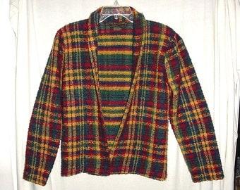 Vintage 80s I.B. Diffusion Plaid Ladies Jacket Nubby Red Blue Yellow Green M