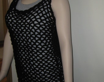 Black Crochet Mesh Tank Top/Cover Up