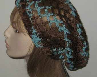 Earth and Sky Mesh Slouchy Beanie Dread Tam Snood Crochet Hat