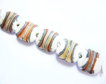 SILVERED TOPAZ LAYERS   5 ivory,silver, topaz and silvered ivory matte finish large squeeze    A Beaded Gift