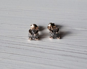 Diamond 14kt Gold Earrings Studs Natural 1.5 Plus Carat Uncut Rough Prong  Post  April Birthstone