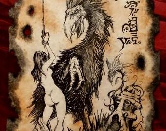 GOLKA the DEVIL BIRD cthulhu larp Necronomicon Fragment  lovecraft monster art