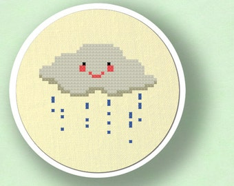Cute rainy Cloud. Modern Simple Cute Counted Cross Stitch PDF Pattern Instant Download