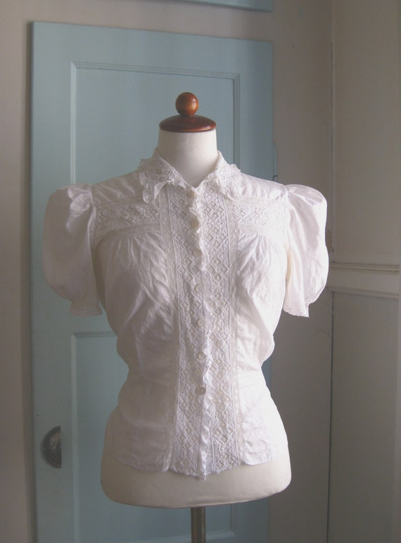 1940s ivory openwork lace blouse - XS/S