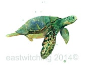 Watercolor,SEA TURTLE Print, 5x7 print, kids wall art, ready to frame, seaturtle