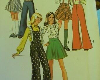 Vintage Simplicity  Girls' Bell-Bottom Pants andamp; Bias Skirt w/ Suspenders and Bib Pattern # 6588 Uncut