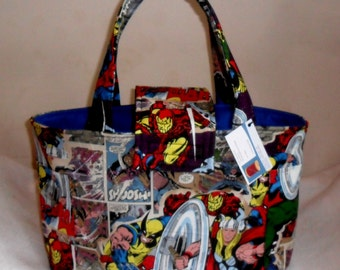 Large Marvel Retro Breakthrough Comic Diaper Bag Tote UPGRADED INTERIOR