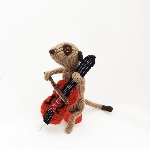 Meerkat cellist, musician meerkat, animal playing cello, orchestra, band, knitted celloist, meercat, musician gift