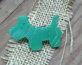vintage green BAKELITE scotty dog pin